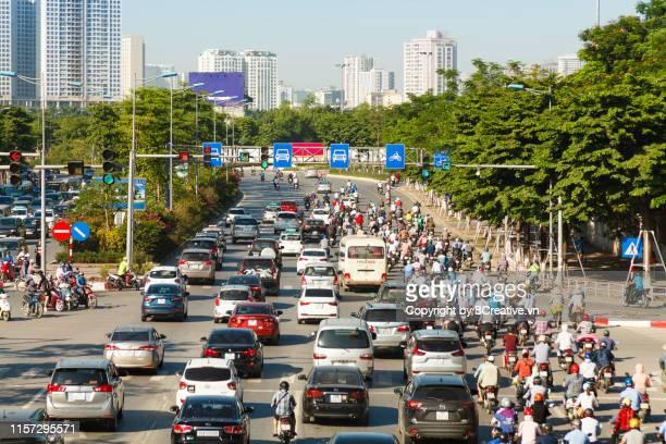 aerial view of hanoi cityscape, many traffic in rush hours. - ベトナム ストックフォトと画像