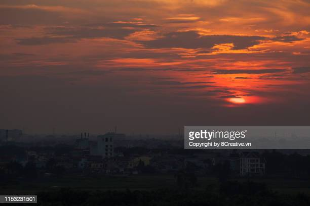 Aerial view of Hanoi urban skyline in beautiful sunset.
