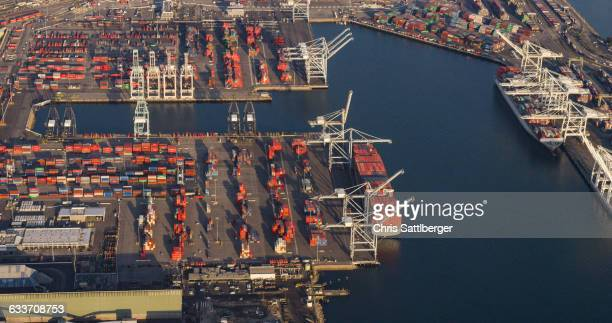 Aerial view of harbor and industrial docks