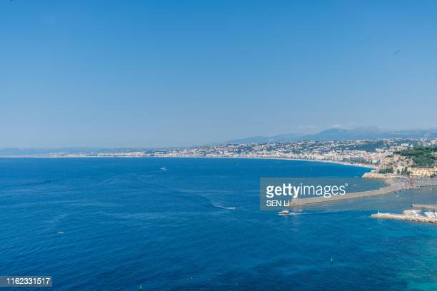 aerial view of harbor at nice, villefranche-sur-mer, france - 船舶 stock pictures, royalty-free photos & images
