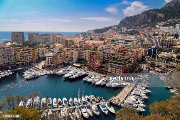 aerial view of harbor of monaco - monaco stock pictures, royalty-free photos & images
