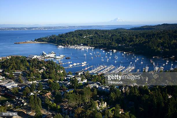 aerial view of harbor - kitsap county washington state stock pictures, royalty-free photos & images