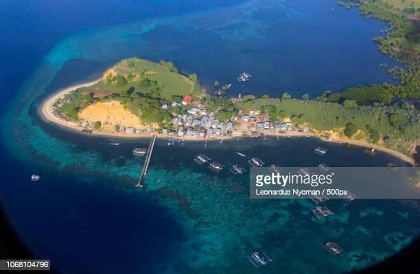aerial view of harbor, seraya kecil island, labuan bajo, indonesia - east nusa tenggara stock pictures, royalty-free photos & images