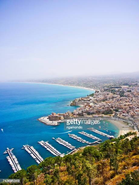 aerial view of harbor, taormina, sicily, italy - taormina stock photos and pictures