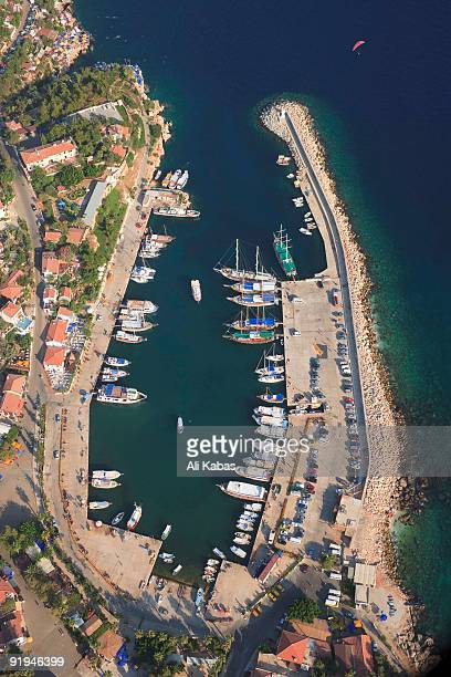 aerial view of harbour in kas, antalya, turkey - ali kabas stock pictures, royalty-free photos & images