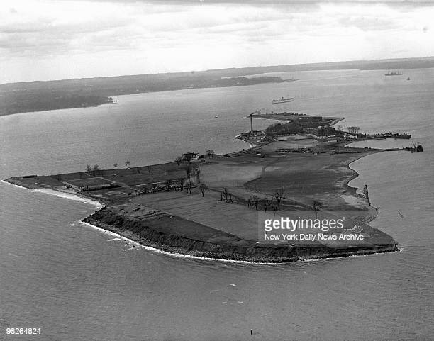 Aerial view of Hart Island New York in a photo taken on April 2 1946