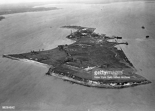 Aerial view of Hart Island New York in a photo taken on February 25 1950