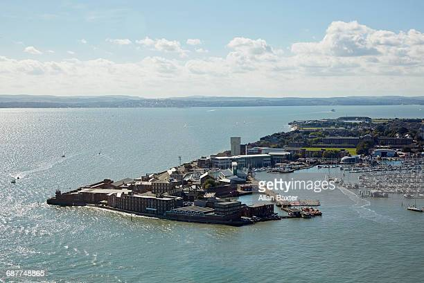 aerial view of haslar marina and isle of wight - portsmouth england stock pictures, royalty-free photos & images