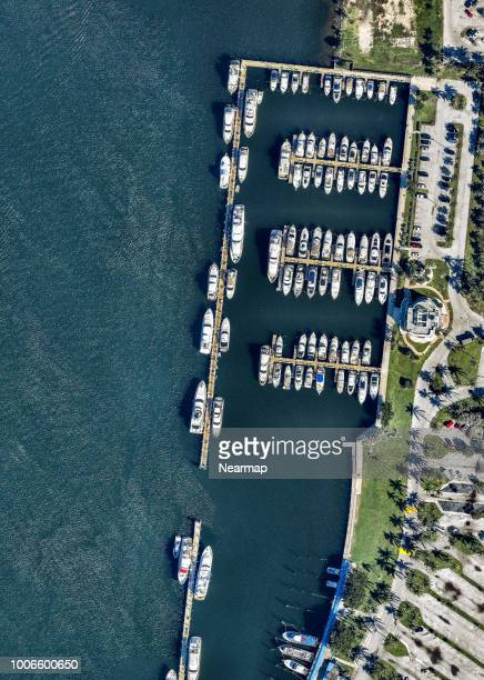 aerial view of haulover park marina. miami. florida, usa - haulover beach stock pictures, royalty-free photos & images