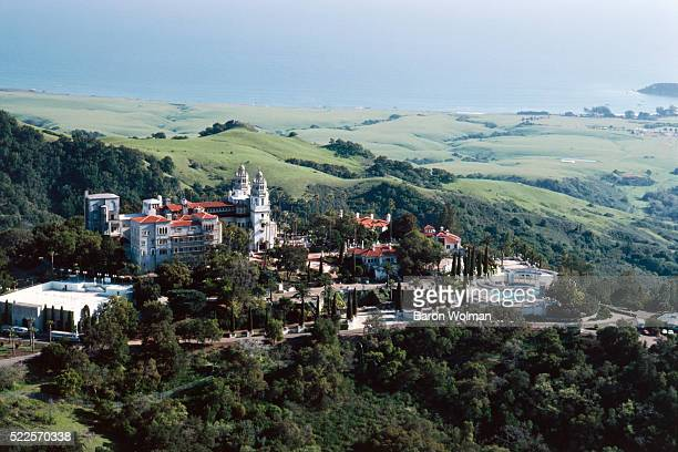 Aerial view of Hearst Castle, a National and California Historical Landmark mansion located on the Central Coast of California, United States, circa...