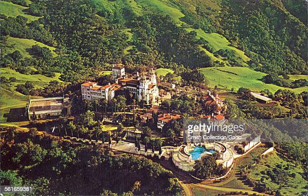 Aerial View of Hearst Castle and Grounds San Simeon California on Coast Highway 1 1945
