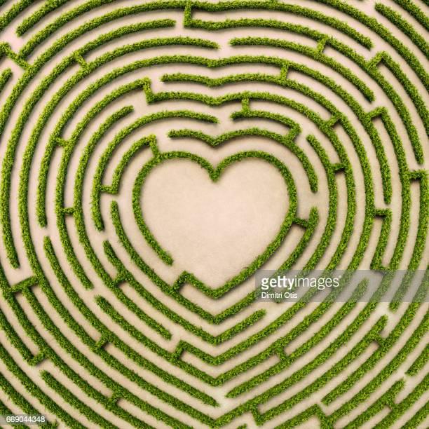 aerial view of heart shape hedge maze - romanticismo concetto foto e immagini stock