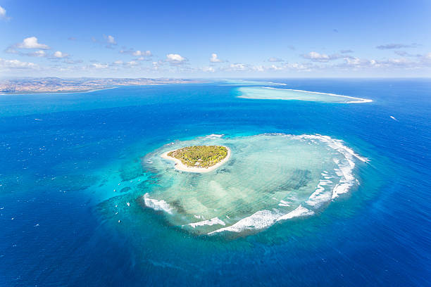 Aerial View Of Heart Shaped Island Tavarua, Fiji Wall Art