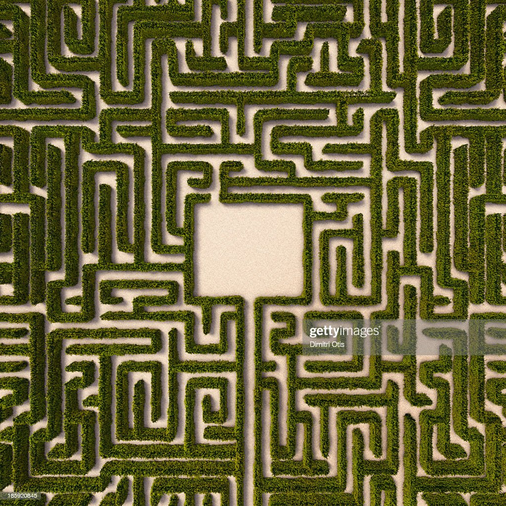 Aerial view of hedge maze with path to centre : Stock Photo