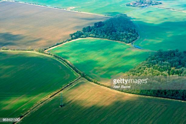 Aerial view of hedgerows and fields in Cambridgeshire