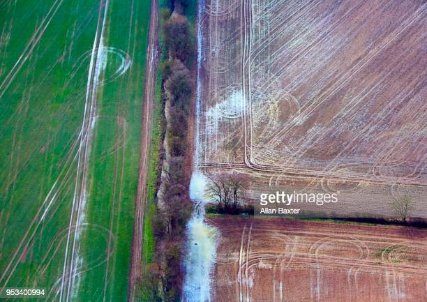 Aerial view of hedgerows in Cambridgeshire