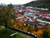 Aerial View of Heidelberg and the Neckar River in Autumn