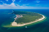 Aerial view of Hel Peninsula in Poland, Baltic Sea and Puck Bay (Zatoka Pucka) Photo made by drone from above.