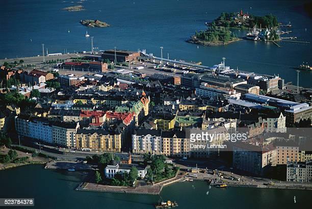 aerial view of helsinki - ヘルシンキ ストックフォトと画像