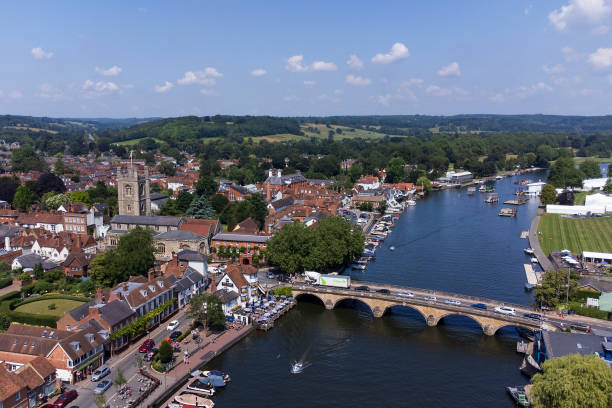 Aerial view of Henley-on-Thames town centre and bridge.