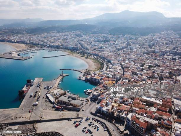 aerial view of heraklion, capital of crete island - stock image - herakleion stock photos and pictures
