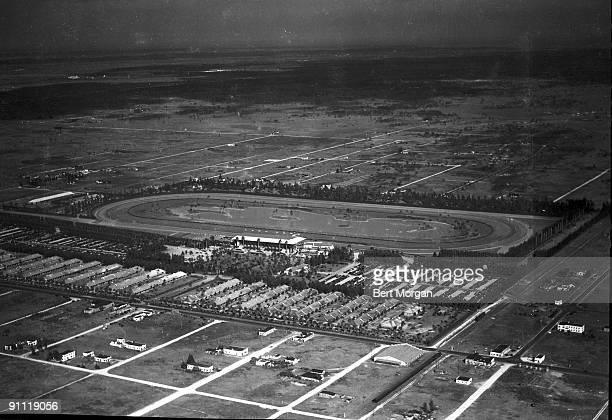 Aerial view of Hialeah racetrack in Florida 1932