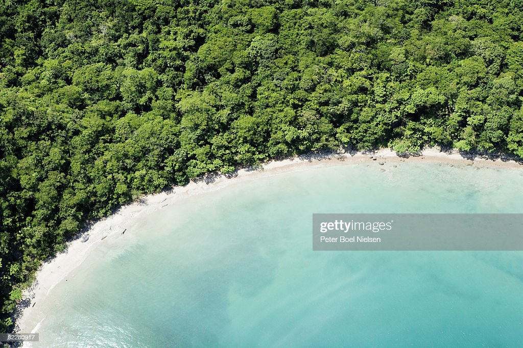 Aerial view of hidden tropical bay : Stock Photo