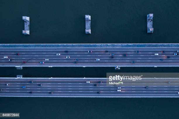 aerial view of high way san francisco. - parallel stock pictures, royalty-free photos & images