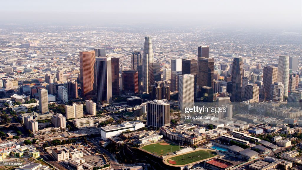 Aerial View Of Highrise Buildings In Downtown Los Angeles