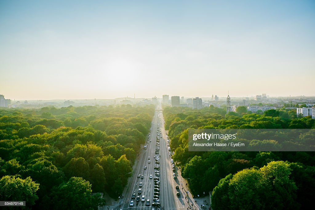 Aerial View Of Highway Amidst Trees Against Clear Sky : Stock-Foto