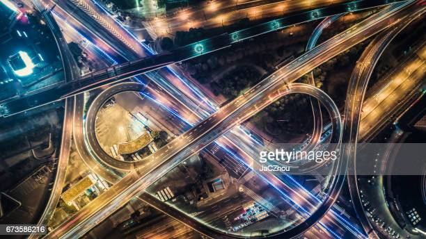 aerial view of highway at night