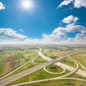 Aerial view of highway in Hungary