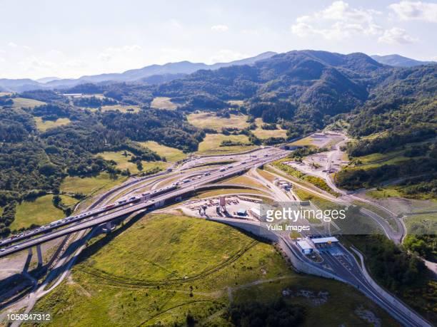 aerial view of highway interchange  emilia-romagna  italy - emilia romagna stock photos and pictures