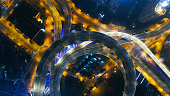 Aerial view of highway interchange in Shanghai city, China.