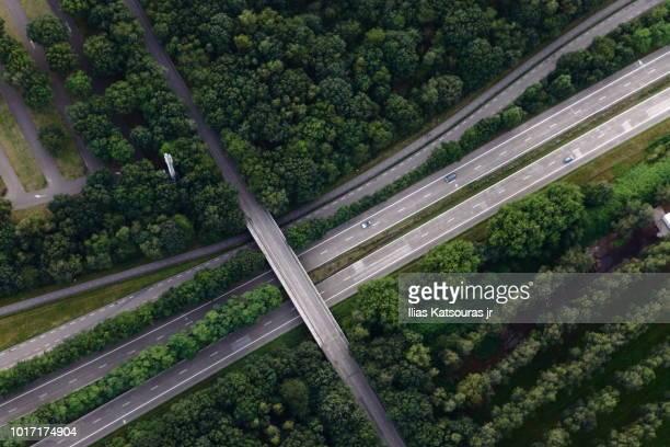 aerial view of highway intersection, in forest, in the netherlands - tilburg stockfoto's en -beelden