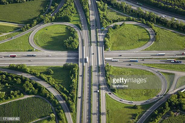 Aerial view of highway junction in green nature
