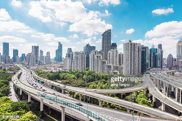 aerial view of highway junction with little traffic - anhui province stock pictures, royalty-free photos & images