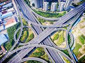 Aerial view of highway overpass