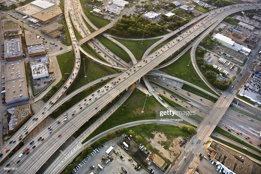 Aerial view of highways in Dallas, Texas : Stock Photo
