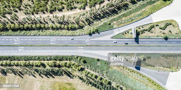 Aerial view of highways, interchanges, and traffic in Ordos