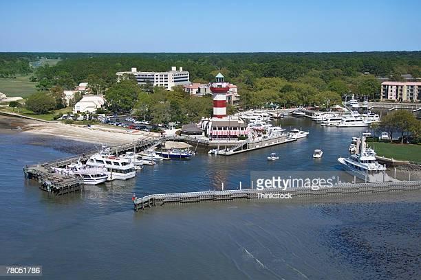 aerial view of hilton head lighthouse and marina, south carolina - ヒルトンヘッド ストックフォトと画像