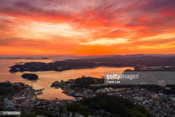aerial view of hirado from drone at sunset - fukuoka city stock pictures, royalty-free photos & images