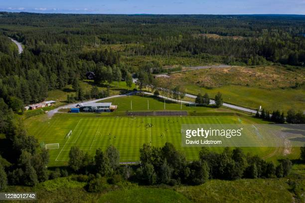 Aerial view of Hissmovallen during the Ostersunds FK training session at Hissmovallen on August 12, 2020 in Krokom, Sweden.