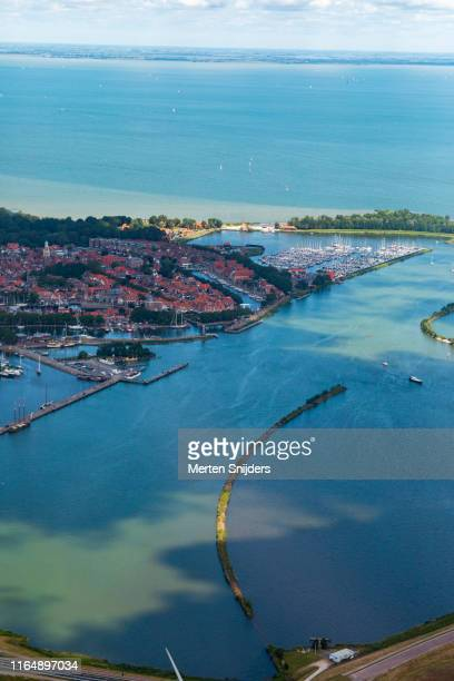 aerial view of historic harbour town enkhuizen - merten snijders stock pictures, royalty-free photos & images