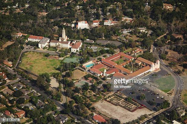 aerial view of historic santa barbara mission in santa barbara califormnia usa - mission santa barbara stock pictures, royalty-free photos & images