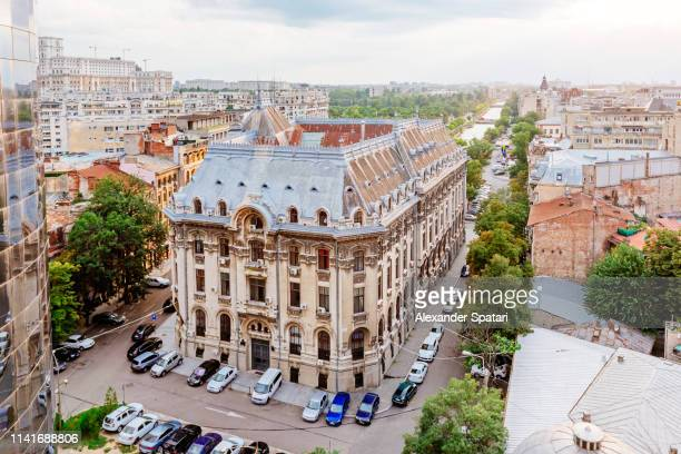 Aerial view of historical buildings in Bucharest old town, Romania