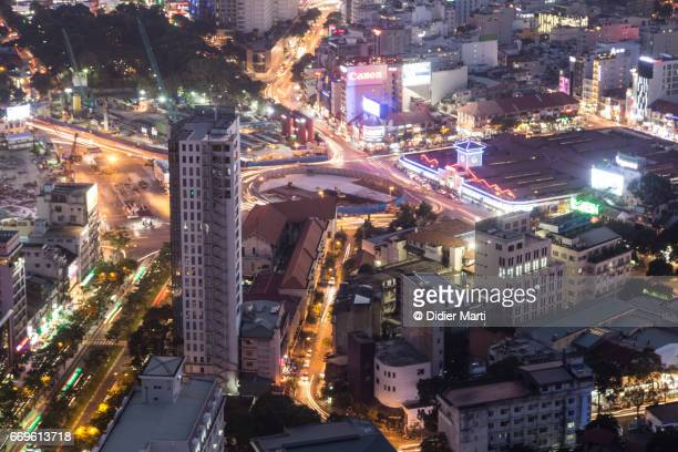 Aerial view of Ho Chi Minh City at night in Vietnam