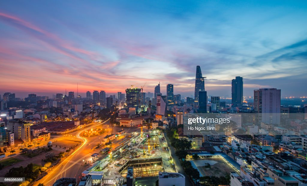 Aerial view of Ho Chi Minh city at twilight : Stock Photo
