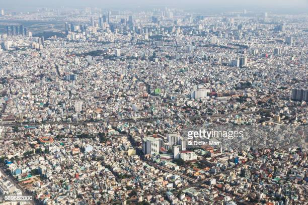 aerial view of ho chi minh city in vietnam - didier marti stock photos and pictures