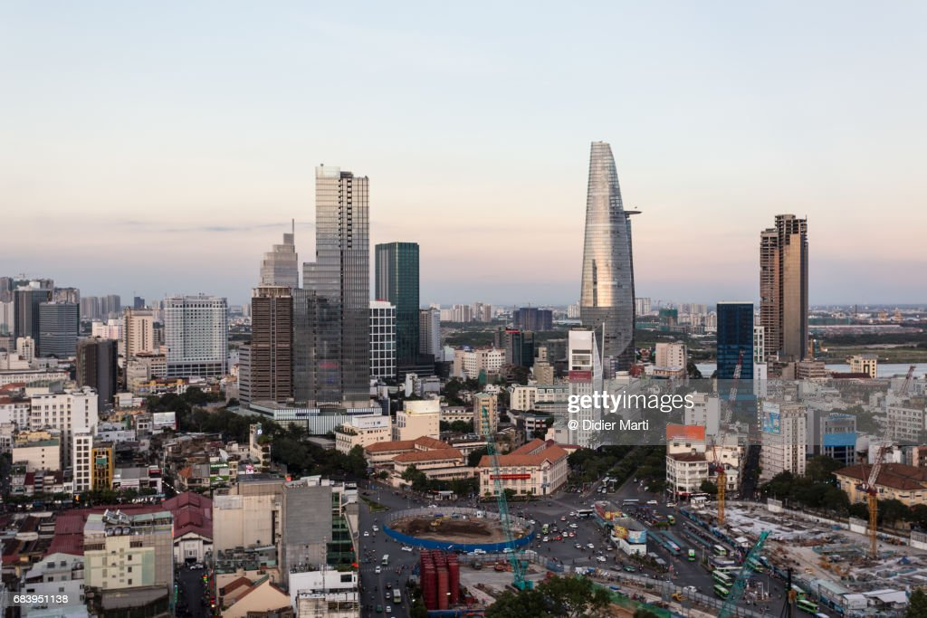 Aerial view of Ho Chi Minh downtown in Vietnam : Stock Photo